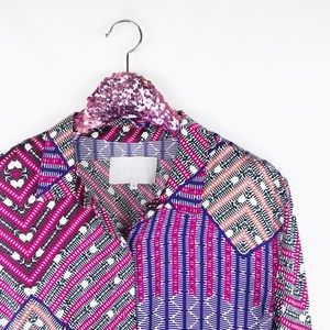 Asceno Aztec Tibetan silk button down